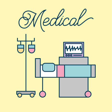 Medical bed iv stand and monitoring machine health on yellow background vector illustration