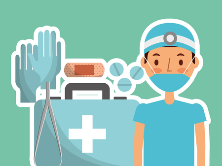 Medical surgeon professional medicine supplies vector illustration on blue background