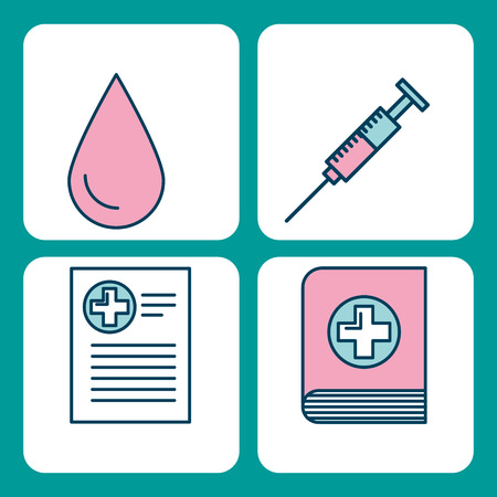 Set of medical medicine science theme icons vector illustration Ilustração