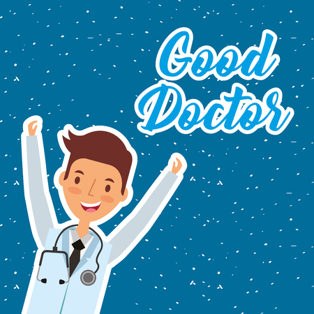 Good doctor character male vector illustration on blue background