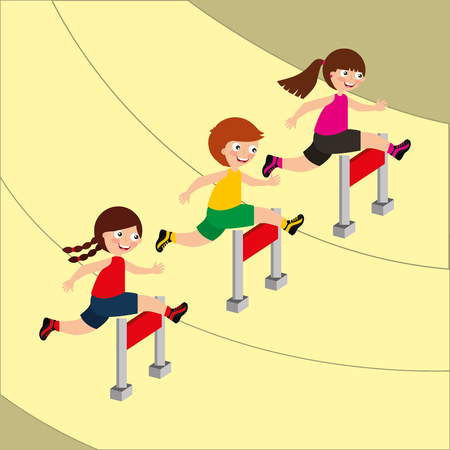 Kids running obstacle course racing activity vector illustration