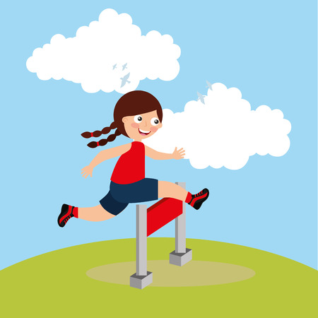 Kid jump obstacle racing sport activity image vector illustration