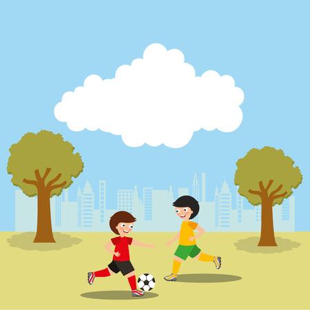 Kinderen voetballen in de park sport activiteit vectorillustratie