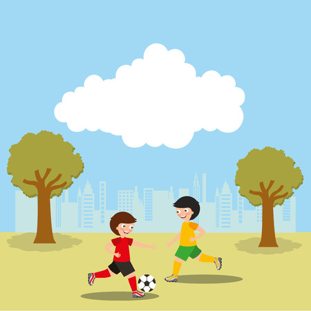 Kids playing soccer in the park sport activity vector illustration