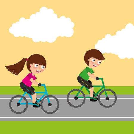 Kids boy and girl riding bikes sport activity image vector illustration
