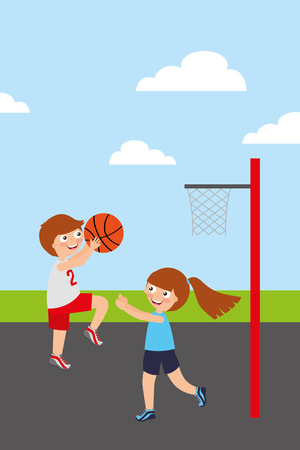 Kids playing basketball sport activity image vector illustration