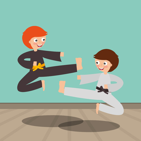 Karate kids fighting for the competition activity image vector illustration