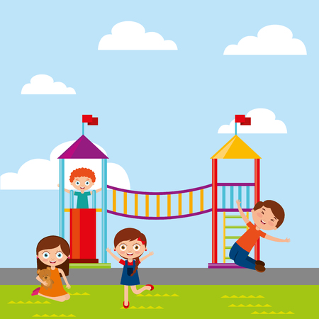 kids playing in playground game in the park activity vector illustration Illustration