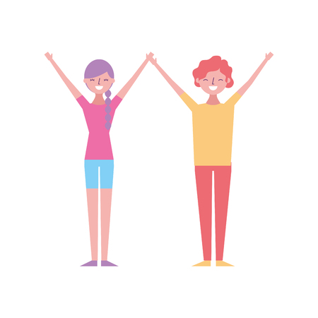 couple of young raised arms people characters vector illustration