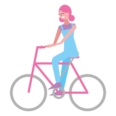 beautiful young happy woman riding in bicycle vector illustration