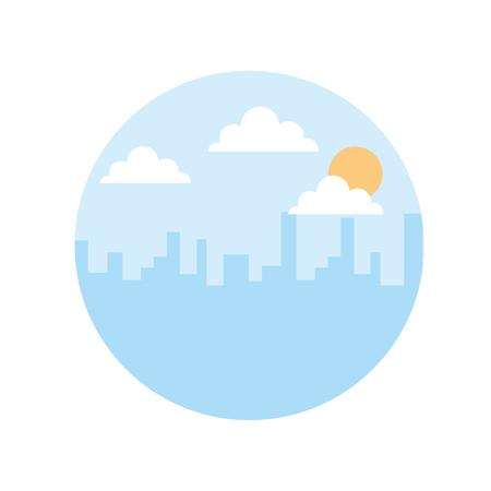 landscape urban city building morning clouds sun vector illustration