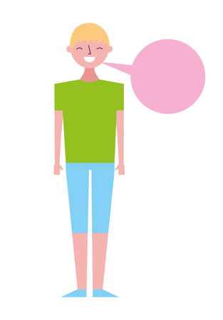 young people male man with speech bubble talk vector illustration