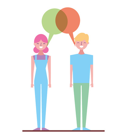 couple talking and discussing character with speech bubbles vector illustration