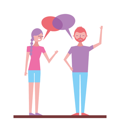 couple talking and discussing character with speech bubbles vector illustration Stock Vector - 97355267