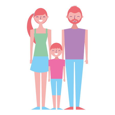 happy family standing together father mother and son vector illustration