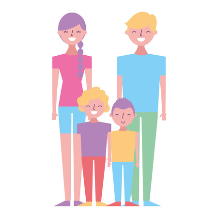 young family parents with their childrens cartoon vector illustration
