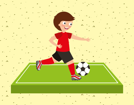 kid playing game soccer ball in filed sport activity vector illustration