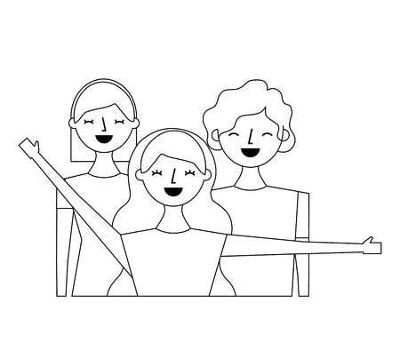 group of three happy friends boys and girls cartoon vector illustration outline design Illustration