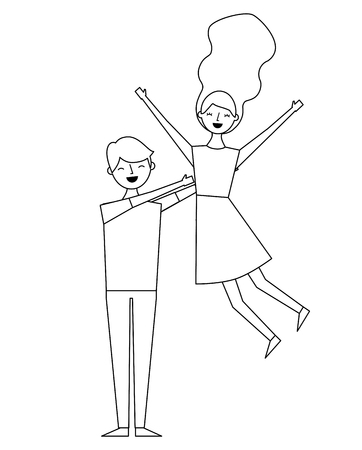 happy man with woman relationship romantic vector illustration outline design