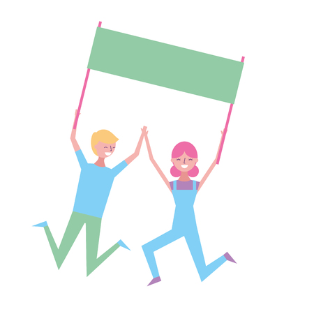 young couple people jump holding placard empty vector illustration Illustration