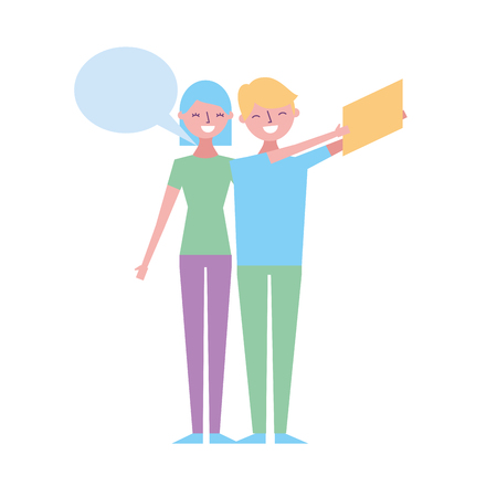 couple of young taking selfie with mobile vector illustration Stock Illustratie