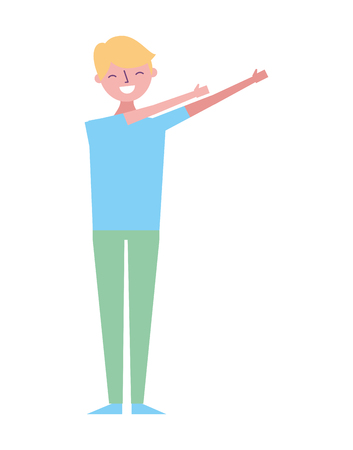 young man standing arms up gesturing vector illustration Illustration