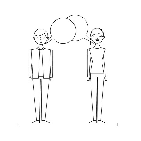 couple talking and discussing character with speech bubbles vector illustration outline design