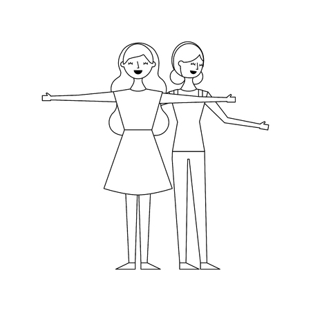 two woman friendly together making gesture with arms vector illustration outline design