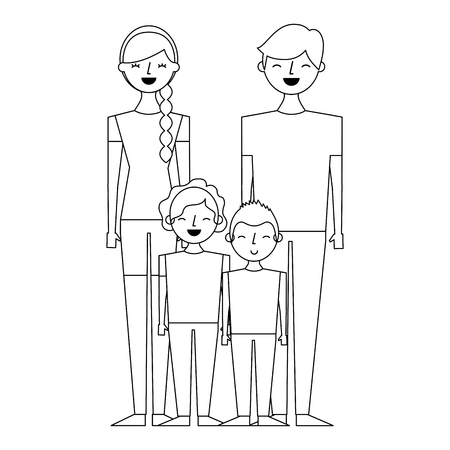 young family parents with their childrens cartoon vector illustration outline design