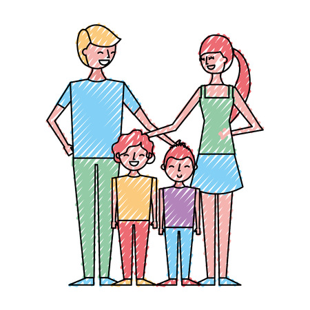young family parents with their childrens cartoon vector illustration drawing color design