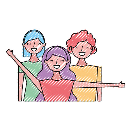 group of three happy friends boys and girls cartoon vector illustration drawing color design