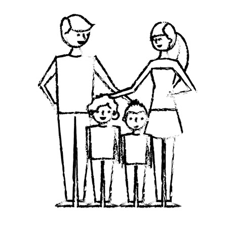 young family parents with their childrens cartoon vector illustration sketch design