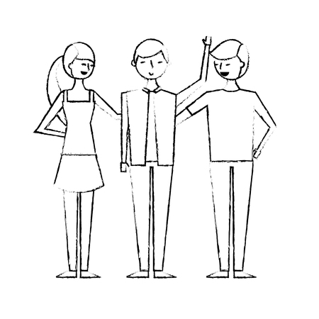 group of three happy friends boys and girls cartoon vector illustration sketch design