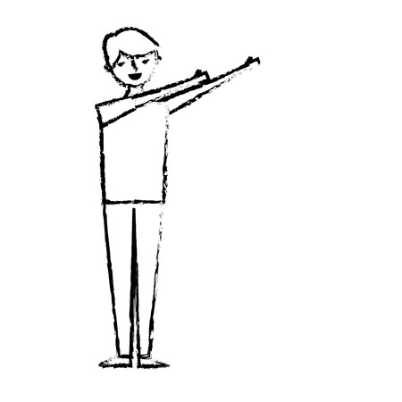 young man standing arms up gesturing vector illustration sketch design