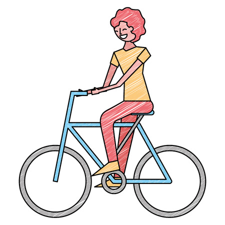 young man riding bike activity vector illustration drawing color design
