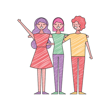 people character women and man hugging friends cartoon vector illustration drawing color design Illustration