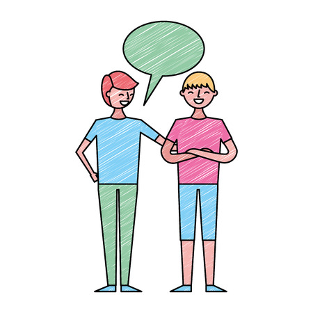 people male character men friends speech bubble vector illustration drawing color design