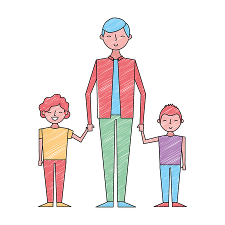 young man holding hands of two kids vector illustration drawing color design