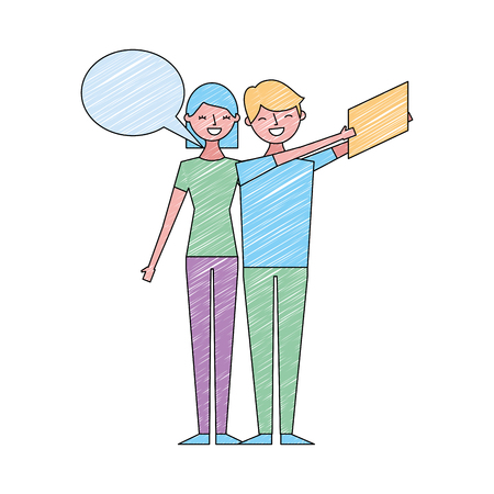couple of young taking selfie with mobile vector illustration drawing color design Stock Illustratie