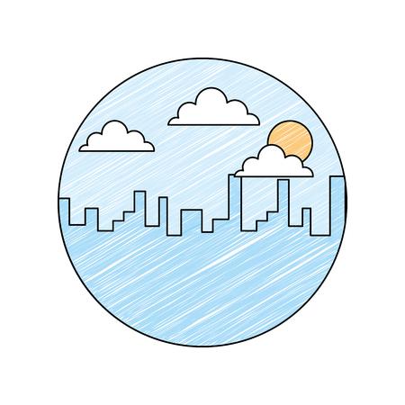 風景都市ビル朝雲太陽ベクトルイラスト描画カラーデザイン