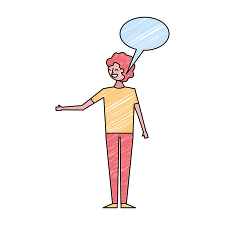 young people male man with speech bubble talk vector illustration drawing color design Illustration