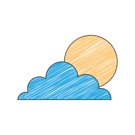 weather summer season sun clouds day vector illustration drawing color design