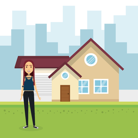Young woman outside house vector illustration design 向量圖像