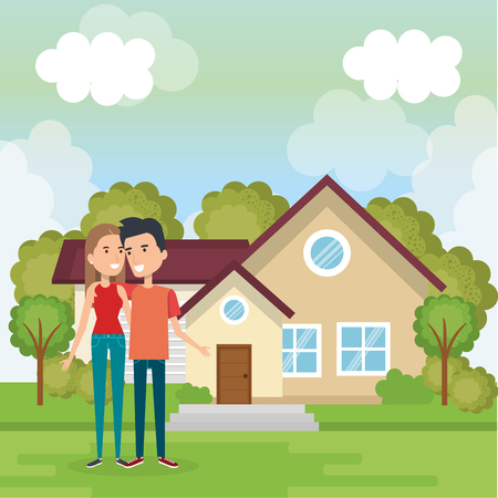 couple of lovers away from home vector illustration design Stock Vector - 97382241