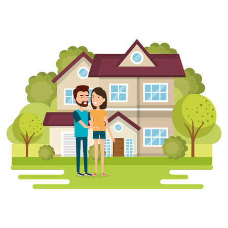 couple of lovers away from home vector illustration design