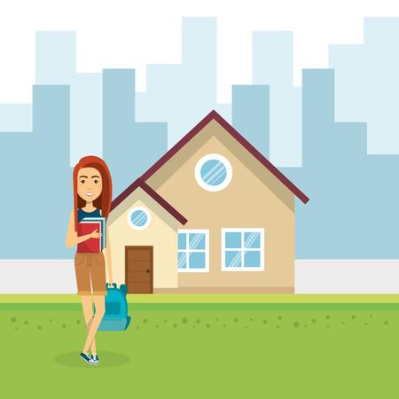 junge Frau außerhalb des Hausvektor-Illustrationsdesigns