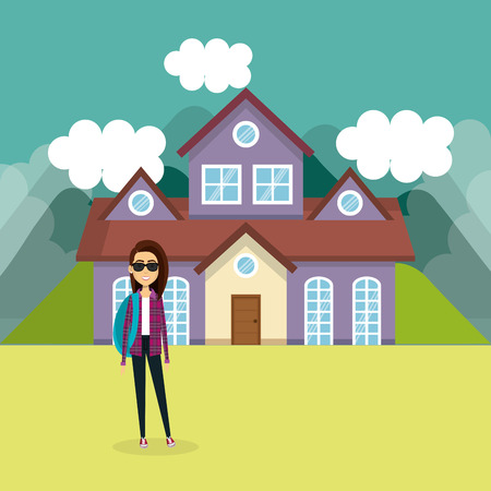 Young woman outside house vector illustration design Illustration