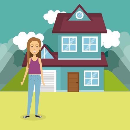 若い女性外の家のベクトルイラストデザイン  イラスト・ベクター素材