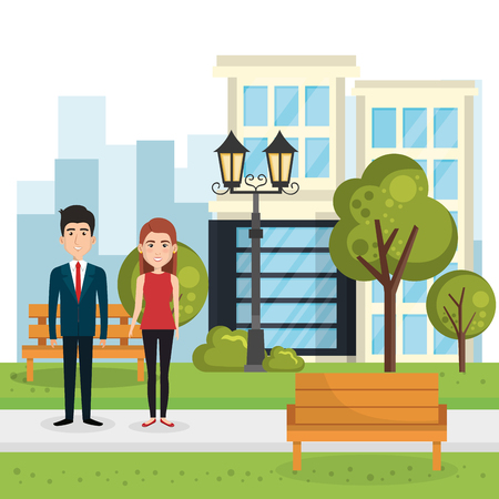 couple of lovers in the park vector illustration design Stock Vector - 97382242