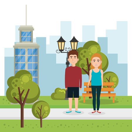 couple of lovers in the park vector illustration design Illustration